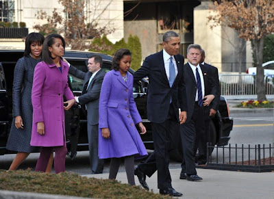 Michelle Obama With Family in Thom Browne Coat and Dress