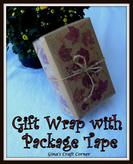 Packing Tape + Fall Leaves = Great Gift Wrapping