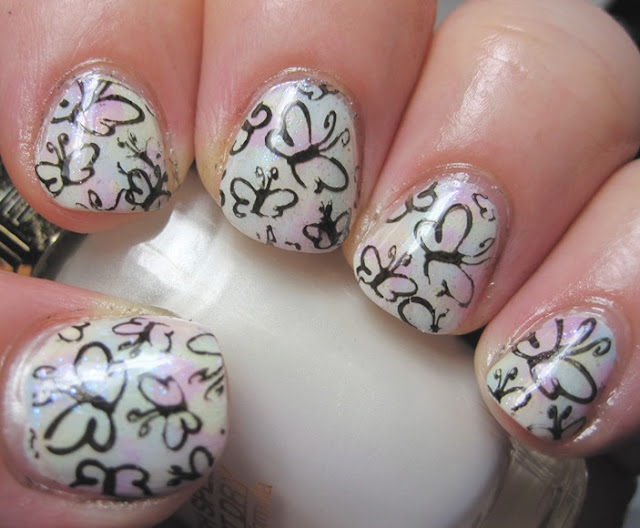 Abstract brushstroke with L'Oreal pastels and butterfly stamp