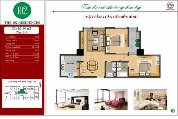 Chung cư 102 Trường Chinh kinh kỳ - The 102 Residences 94m2