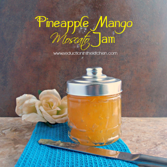 Pineapple Mango Moscato jam is a sweet jam for saving summer for #sundaysupper. A recipe from Seduction in the Kitchen.