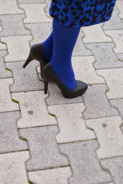 cobalt blue tights, black pumps, Fashion and Cookies, fashion blogger