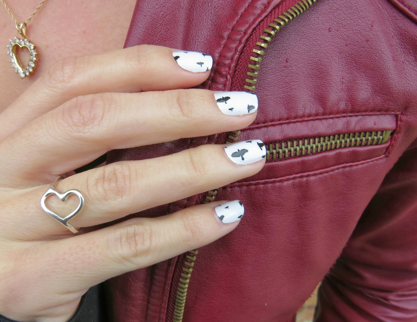 Bird Nail Stickers, Open Heart Ring