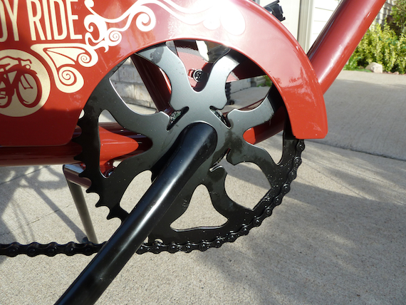 Custom Felt Bike by Fat Tire showing view of sprocket