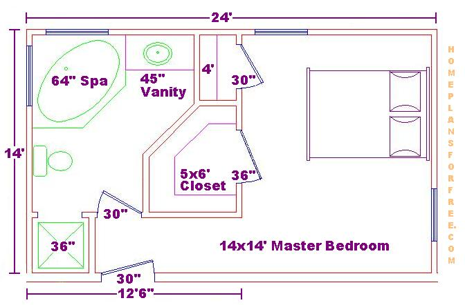 Foundation dezin decor bathroom plans views for Small master bedroom plan