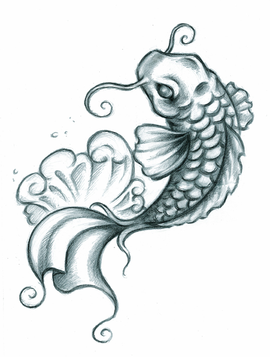 Koi tattoo drawings koi fish tattoo for Koi fish sketch