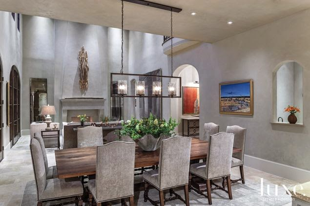 huge gray dining room two stories
