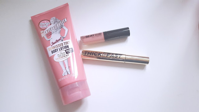 Sunkissed body tintThick and Fast Mascara Mother pucker lipgloss Soap and Glory