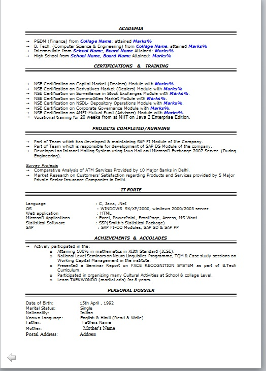 Resume Format For Experience Holder - Resume Template Ideas