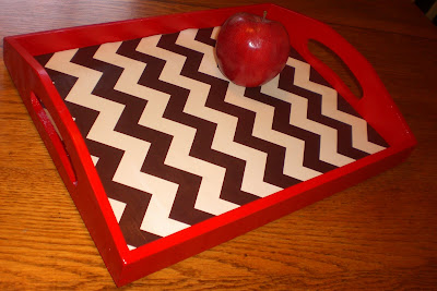 Red Painted Tray with Brown and Cream Zigzag