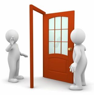 Guy Open Door Greet Other Guy