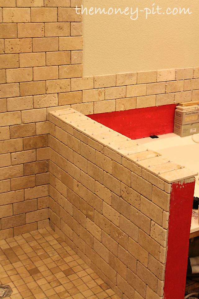 Bathroom Knee Wall master bathroom week 6: tiling shower floor, curb and knee wall