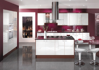 contemporary colorful kitchen design in purple