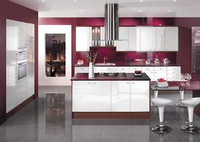contemporary colorful kitchen design in purple