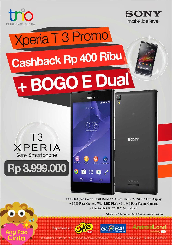 Beli Sony Xperia T3 Rp 3.999.000 bonus Xperia E Dual SIM