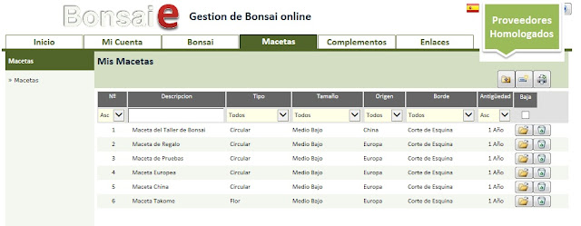 Bonsai-e, Macetas