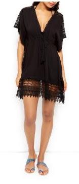 New Look Black Textured Crochet Trim Kaftan