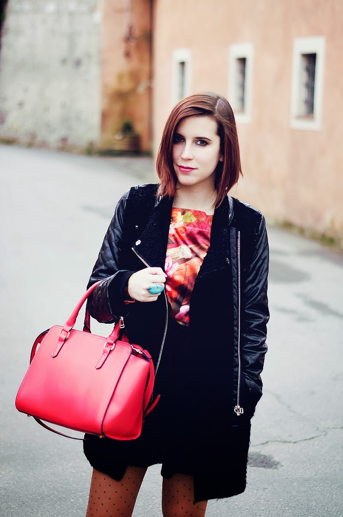spring, color, Accessorize, Bag, Coral, Pink, Coat, Outfit, Eleonora, Black and Pink