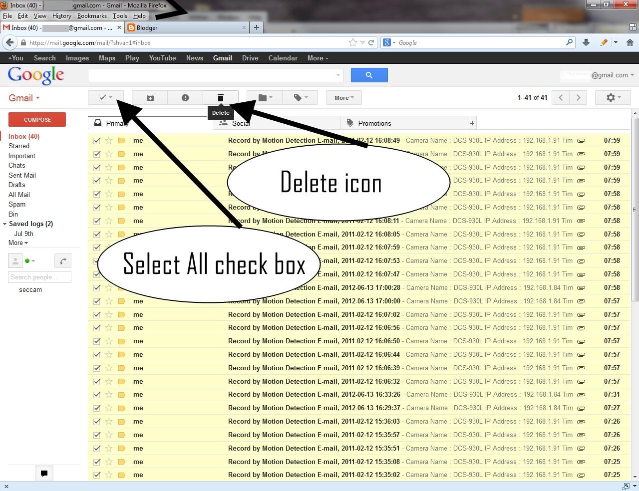 with old gmail where there is only one inbox if you selected all and click the delete icon another link will pop up as below asking whether you want to