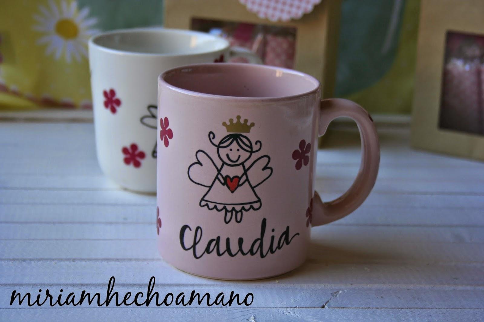Miriam hecho a mano diy regalo de comuni n original taza - Tazas decoradas a mano ...