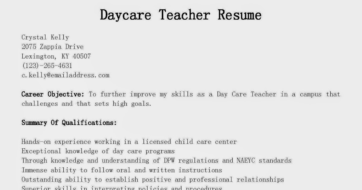 resume samples  daycare teacher resume sample
