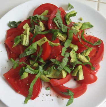 tomato avocado and basil salad