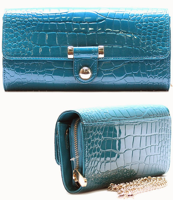 Blue Teal Alligator Print Patent Clutch
