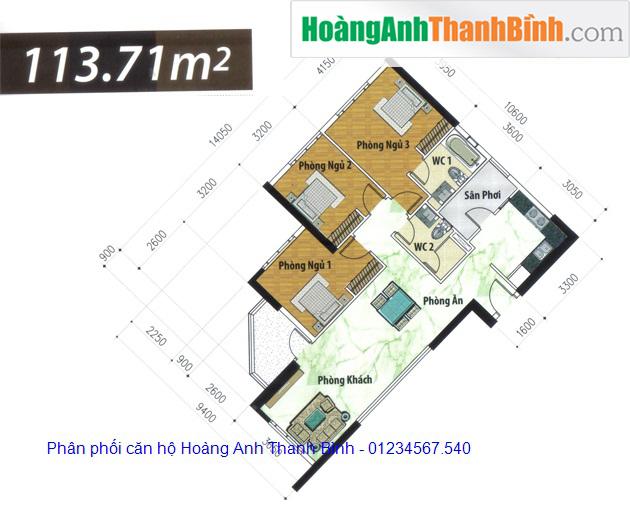 căn hộ Hoàng anh thanh bình 3 phòng ngủ - HoangAnhThanhBinh.com