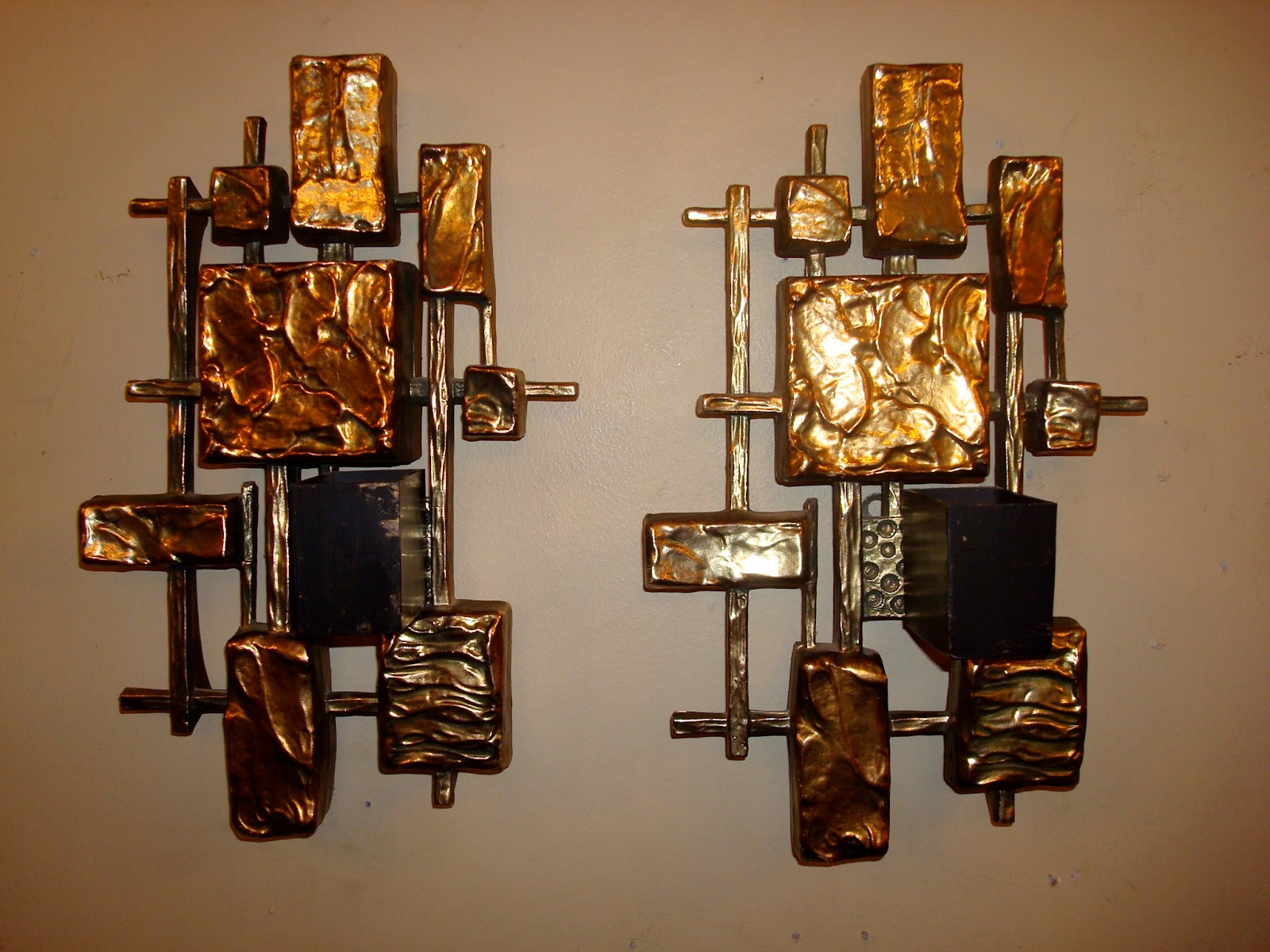 Pair Of Brutalist Wall Sconce Candle Holders Styled In The Manner Of Paul  Evans