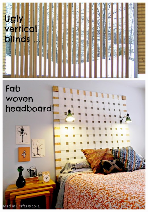 Repurpose dont trash the mini blinds the refab diaries finally are you ridding yourself of vertical blinds how about a diy woven headboard instructions at mad in crafts solutioingenieria Choice Image