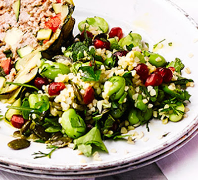 This bulghar wheat and chopped herb salad makes a scrumptious side to take to a picnic Fennel, pomegranate & broad bean salad recipe