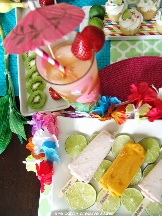 drink ideas for a luau, mocktail, drink umbrella, lei, Fruttare, luau decor