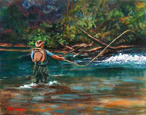 Fine art by pat koscienski fly fisherman original for Fly fishing art