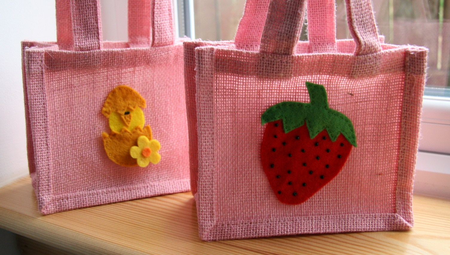 Wedding Return Gift Bags : have now completed a selection of decorated jute bags, each of which ...
