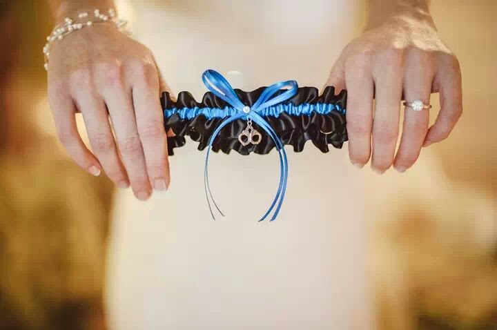 Thin Blue Line Police Wedding Garter by Sugarplum Garters