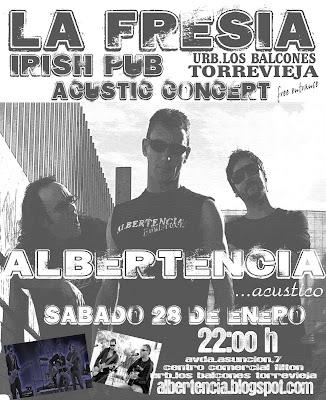 cartel para el acústico del Albertncia en La Fresia el sábado 25 de enero de 2012