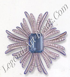 A 30-carat aquamarine diamond ray brooch designed by Verdura for Mrs. Henry Fonda, Christmas 1940
