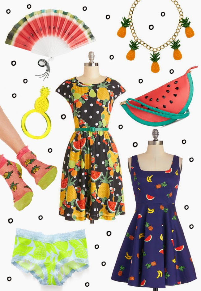 fruits in fashion, fruit prints, fruity fashion wish list