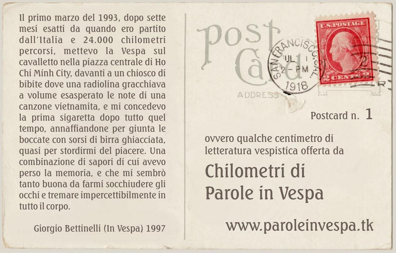 Cartolina dedicata a Giorgio Bettinelli.