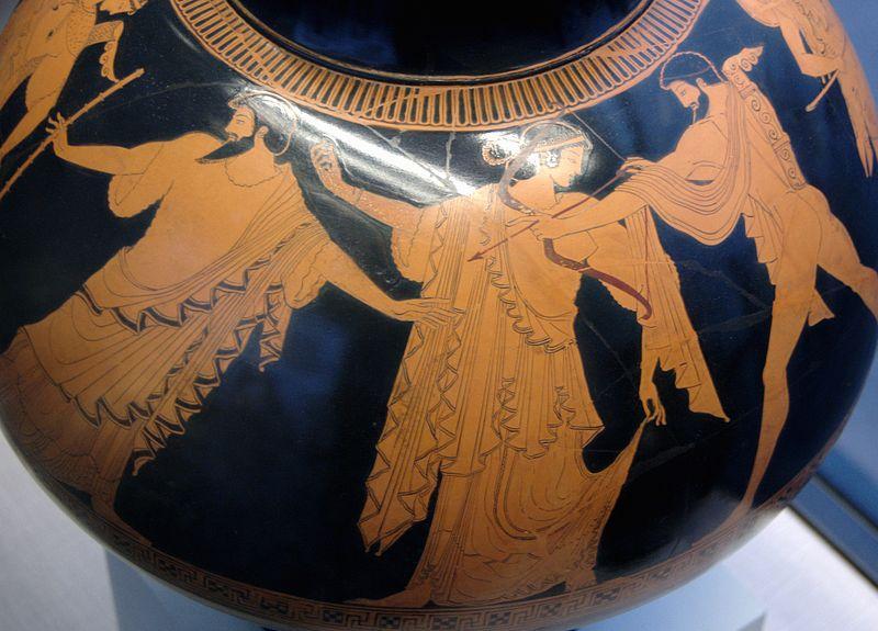Vasija representando a Zeus separando a Apolo de Idas y Marpesa