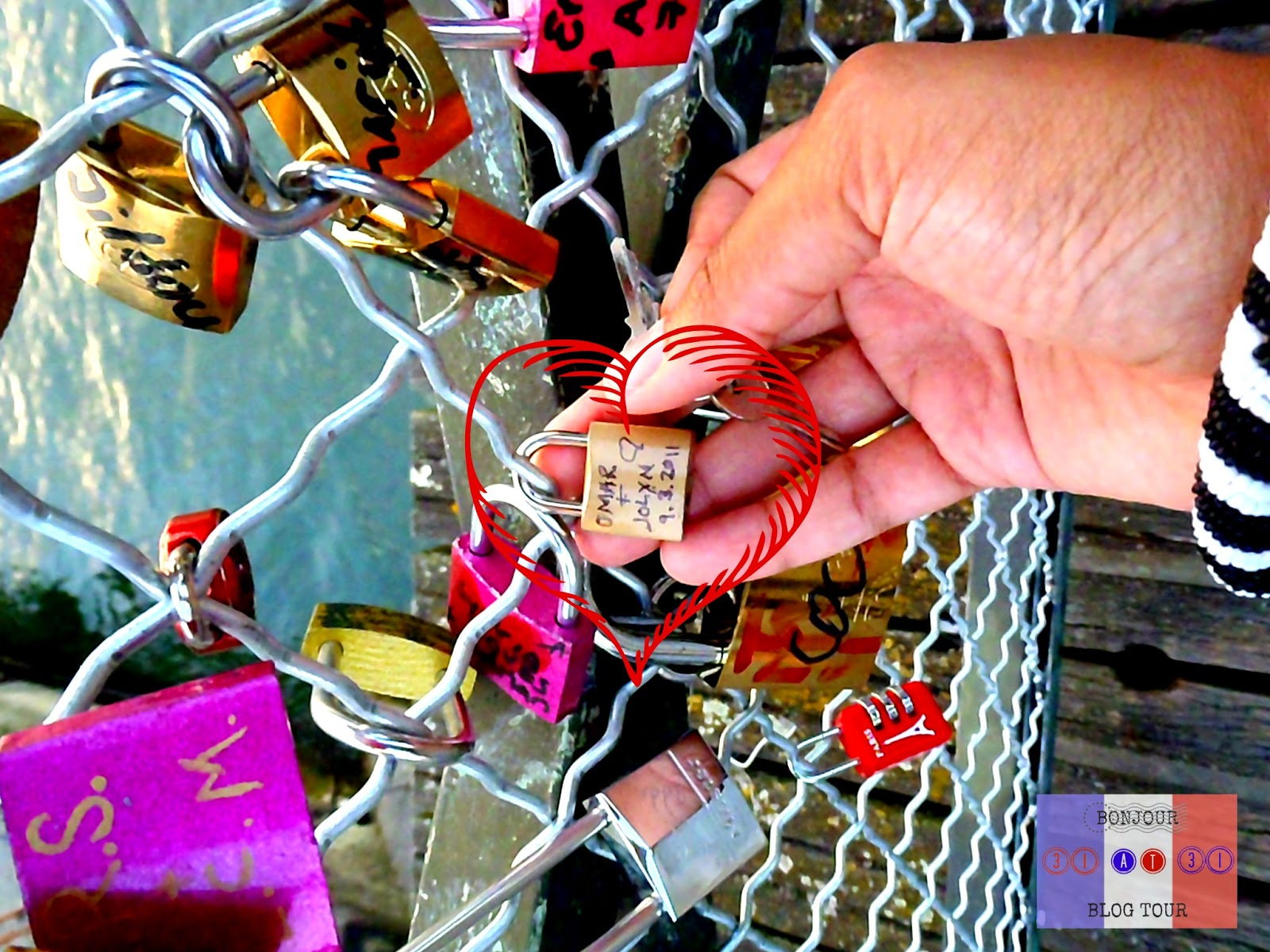 A closer view of the locks on Pont des Arts Love Lock Bridge in Paris, France.