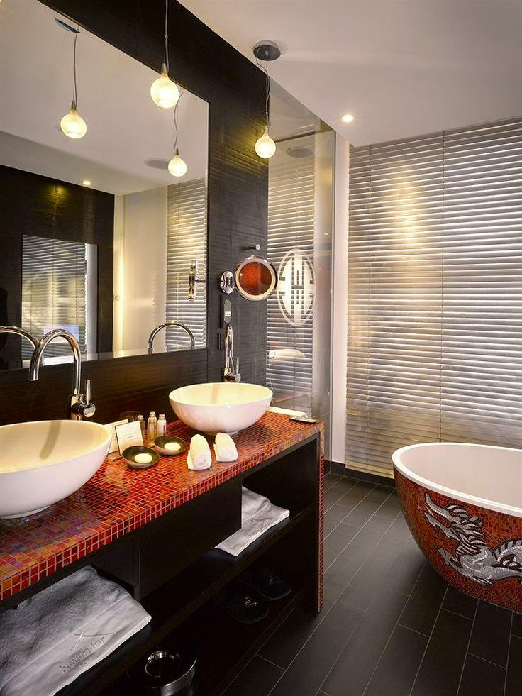 Asian style spa bathroom, feng shui
