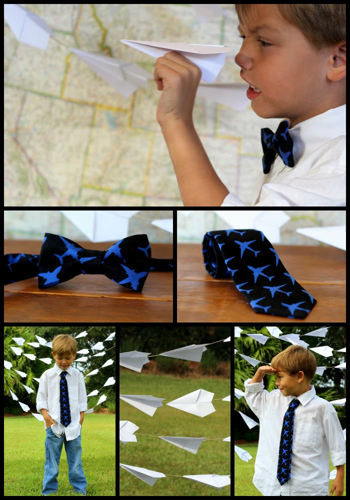 Airplane bow and neck ties, for kids and adults, blue airplanes on black tie