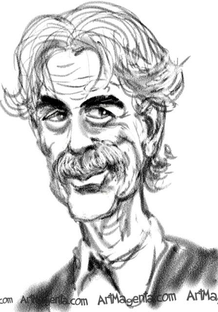 Sam Elliot caricature cartoon. Portrait drawing by caricaturist Artmagenta