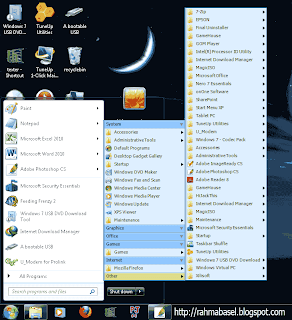 Merubah start menu windows 7 menjadi start menu windows xp
