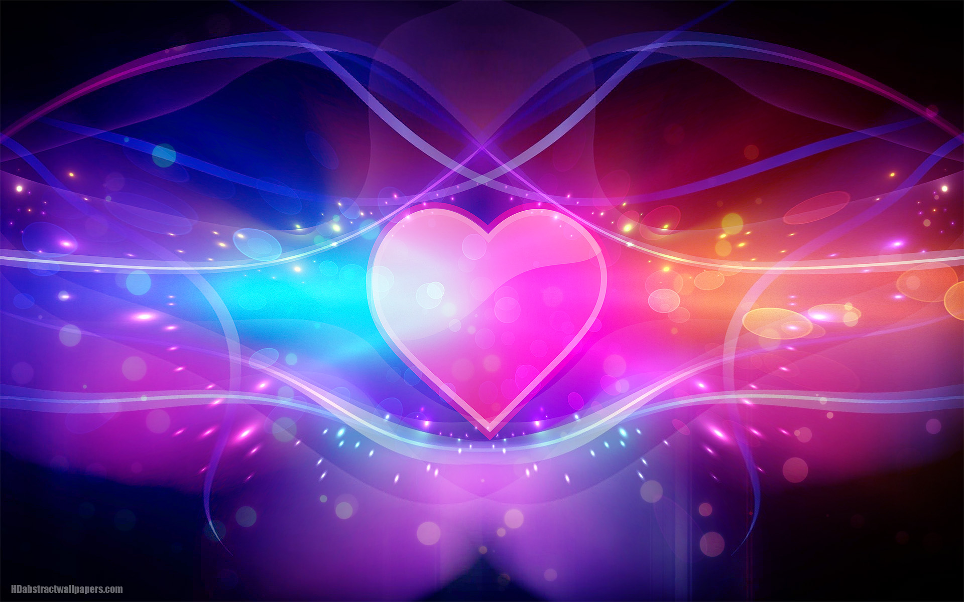 colorful abstract wallpaper with pink love heart hd