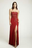 Rochie rafinata, marca Dynasty, din jerse rosu, decorata cu strasuri ( )