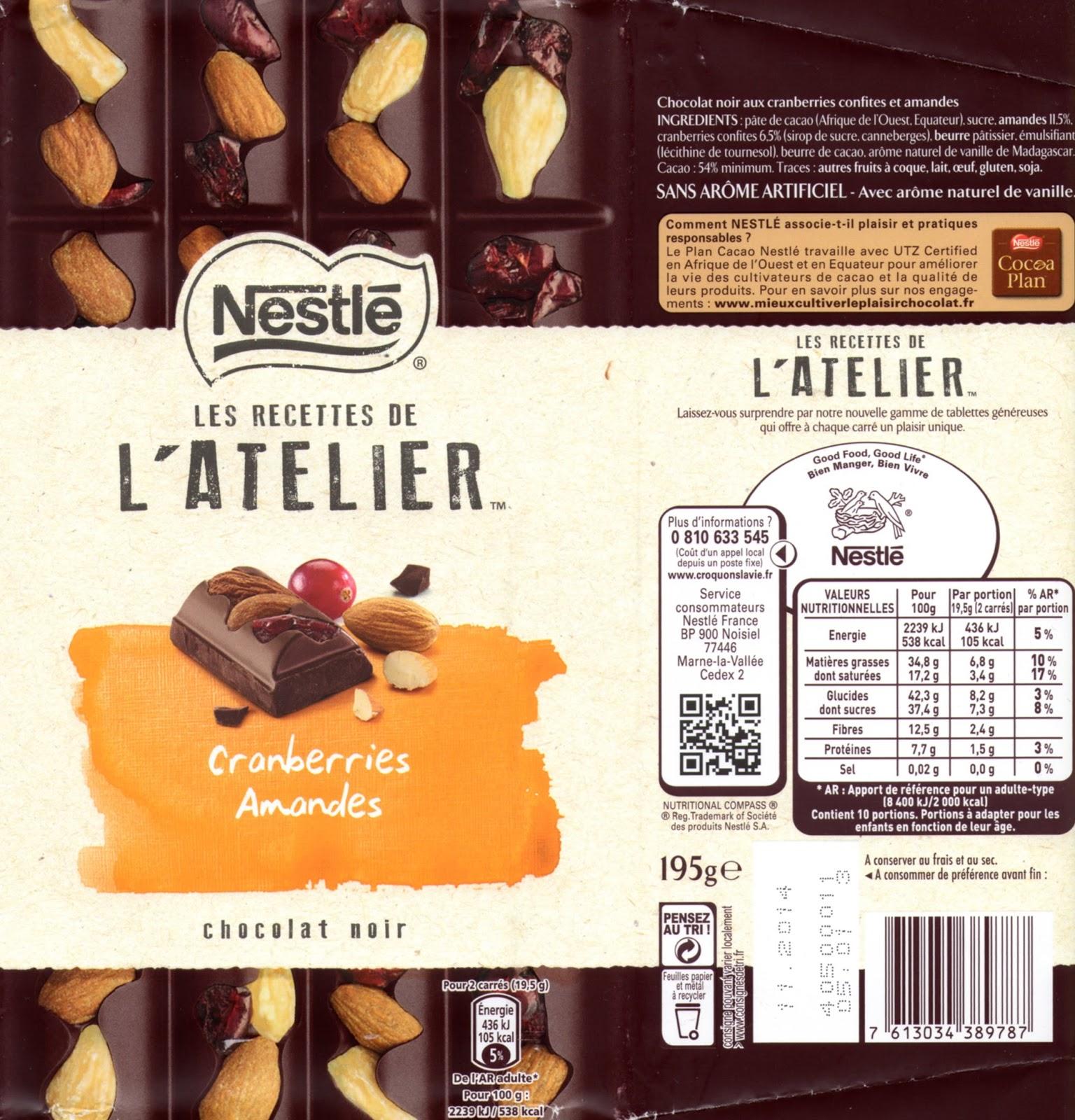 tablette de chocolat noir gourmand nestlé les recettes de l'atelier cranberries amandes