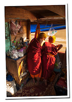 monks in Mekong river