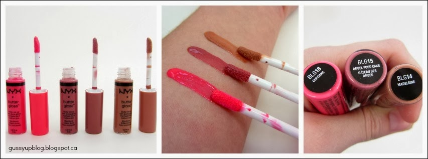 NEW! NYX Cosmetics Butter Glosses in Cupcake, Angel Food Cake and Madeleine: Review and Swatches